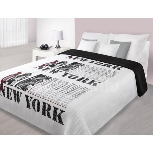 Štýlový prehoz na manželskú posteľ s motívom veľkomesta NEW YORK bielo čiernej farby