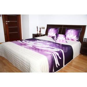 Prehoz na posteľ krémovej farby s motívom fialového kvetu