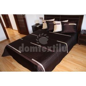 Tmavo hnedý prehoz na posteľ s béžovými pruhmi