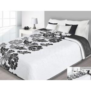Prehoz na posteľ bielej farby s čierno.sivými kvetmi