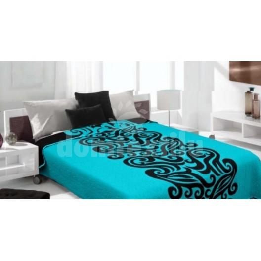 Luxusný obojstranný prehoz na posteľ modrý s čiernymi ornamentami