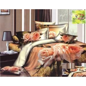 Bavlnené posteľné obliečky hnedo ružovej farby s motívom ruží