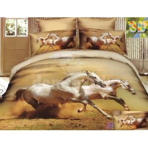 Béžové posteľné prádlo s motívom cválajúcich bielych koní