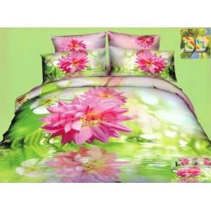 Zelené flanelové posteľné návliečky s ružovým kvetom