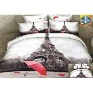 Bielo hnedé posteľné obliečky s motívom mesta Paríž a červeným dáždnikom