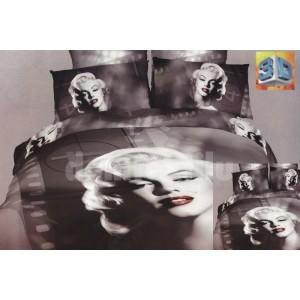 Sivé posteľné flanelové prádlo s motívom ženy