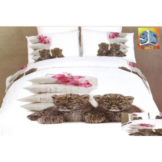 Biele flanelové posteľné prádlo s malými gepardmi, vankúšmi a orchideami