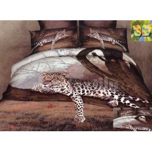 Hnedé flanelové posteľné obliečky s motívom geparda