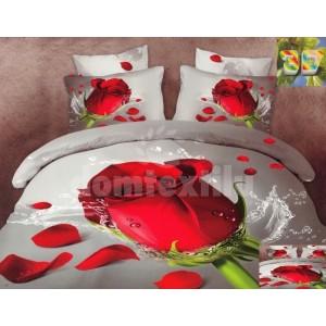 Bavlnené posteľné obliečky s motívom červenej ruže