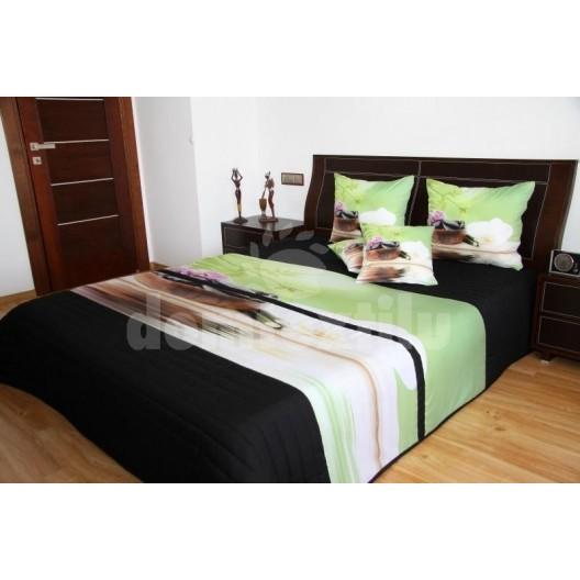 Zeleno čierny prehoz na posteľ s 3D motívom