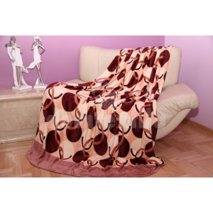 Krémová deka s béžovo - bordovým vzorom