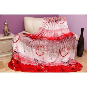 Luxusná bielo - červená deka z mikrovlákna