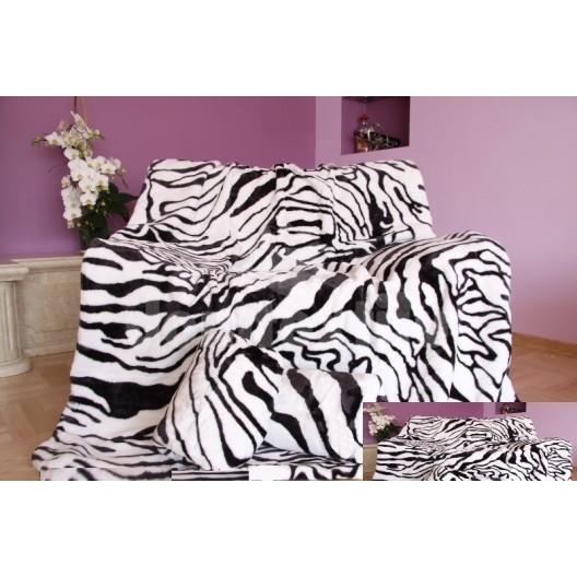 Luxusná deka z akrylu biela s čiernymi pruhmi