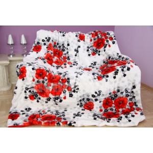 Luxusná biela deka z akrylu s kvetinovým vzorom