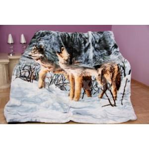 Luxusná moderná deka sivá s vlkmi
