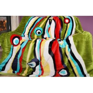 Luxusná moderná deka z akrylu  zelená s pruhmi