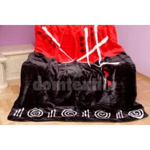 Luxusná moderná akrylová deka červeno - čierna