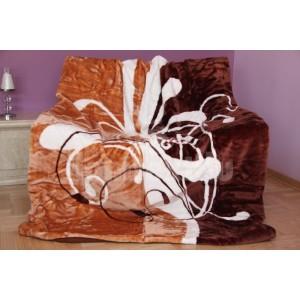 Luxusná moderná deka z akrylu hnedej farby s bielym vzorom