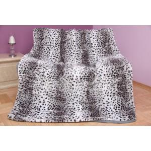 Luxusná akrylová deka sivá s čiernymi škvrnami