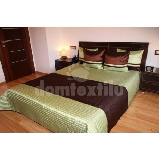 Luxusný prehoz na posteľ hnedo zelený