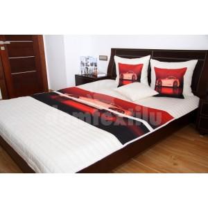 Krémový detský prehoz na posteľ s červenou potlačou auta