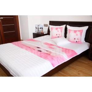 Ružovo smotanový prehoz pre deti s motívom psíka