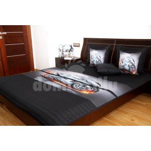 Prehoz na detskú posteľ čiernej farby so sivou rýchlou motorkou