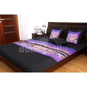 Fialovo čierny prehoz na detskú posteľ s veľkomestom