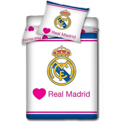 Bielo modré detské obliečky s motívom klubu Real Madrid
