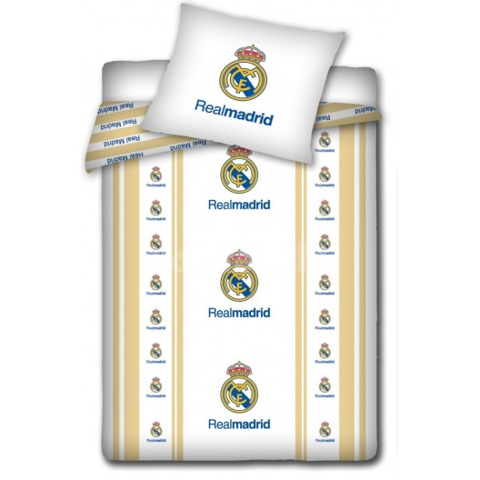 Bielo béžové detské obliečky s motívom Real Madrid