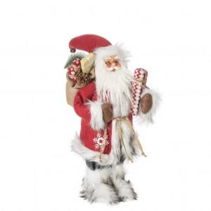 Krásna dekoračná figúrka Santa Clausa s okuliarmi a batôžkom 46 cm