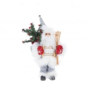 Krásna vianočná figúrka santa Clausa s batohom a lyžami 30 cm