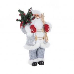Sviatočná vianočná figúrka Santa Clausa s batohom a lyžami 45 cm