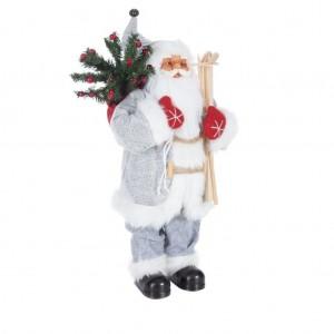 Dekoračná vianočná figúrka Santa Clausa s čečinou a lyžami 60 cm
