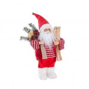 Vianočná červená dekoračná figúrka Santa Clausa s okuliarmi 30 cm
