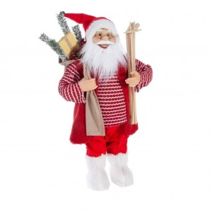 Krásna červená vianočná figúrka usmievavého Santa Clausa 60 cm