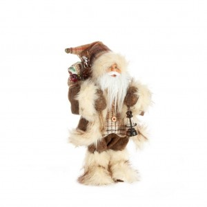 Nadčasová hnedo béžová figúrka Santa Clausa 30 cm