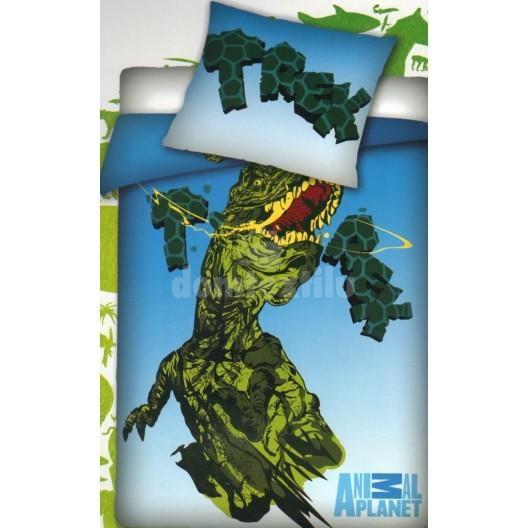 Modro zelené obliečky na posteľ pre deti T-rex