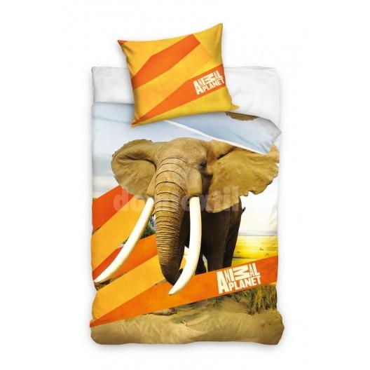 Detská posteľná obliečka hnedej farby so slonom