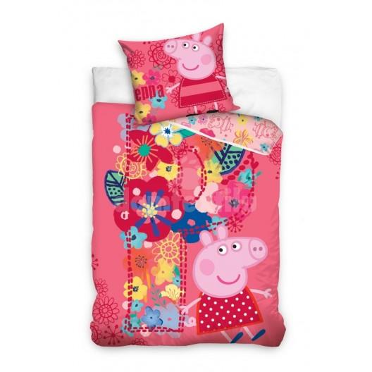 Ružové posteľné obliečky na detskú posteľ s motívom prasiatka