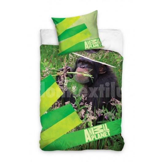 Obliečka na detskú posteľ zelenej farby s opicou