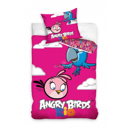 Ružové obliečky na detskú posteľ motív Angry Birds