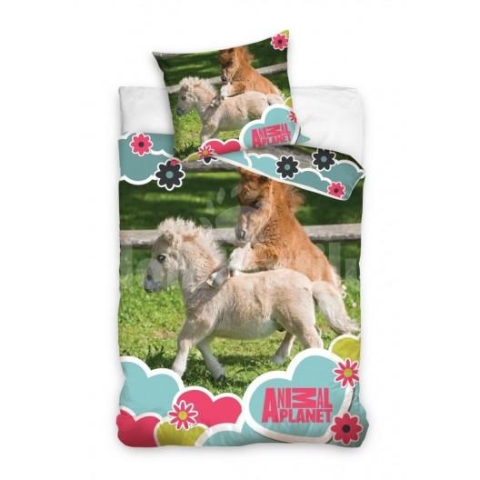 Hnedo zelené posteľné obliečky s detským motívom poníkov