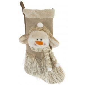 Krásna vianočná mikulášska čižma na zavesenie so snehuliakom