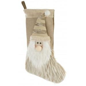 Vianočná dekoračná béžová čižmy s aplikáciou snehuliaka
