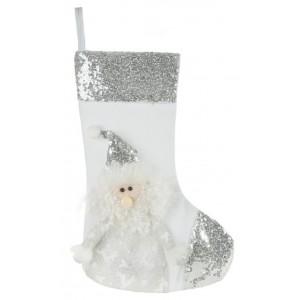 Trblietavá bielo strieborná vianočná čižma so Santa Clausom