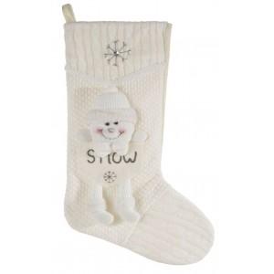 Biela dekoračná vianočná čižma s aplikáciou snehuliaka