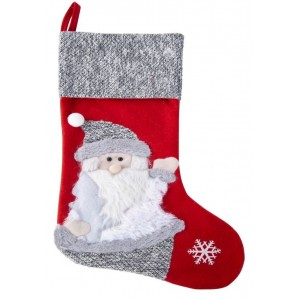 Vianočná červeno sivá ozdobná dekoračná mikulášska čiapka so Santa Clausom
