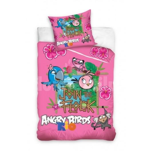 Angry Birds ružové detské posteľné obliečky