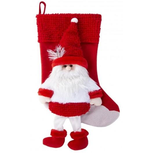 Červená vianočná dekoračná čižma s Mikulášom